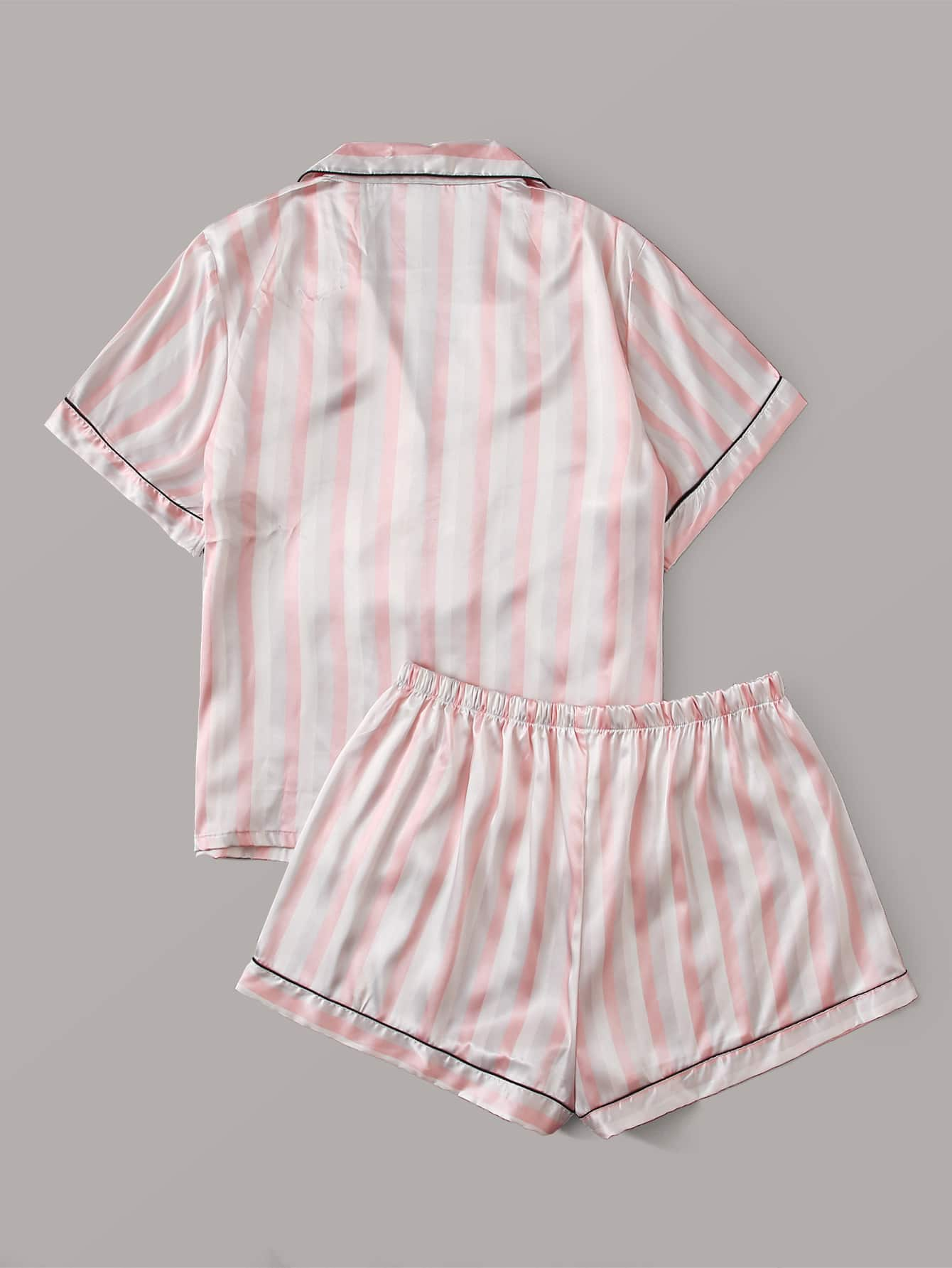 Plus Striped Contrast Piping PJ Set - FLJ CORPORATIONS