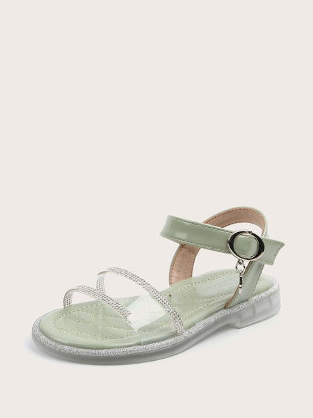 Girls Rhinestone Decor Clear Sandals - FLJ CORPORATIONS