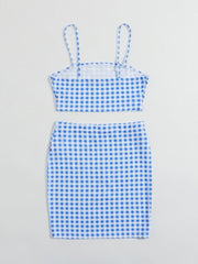 Gingham Crop Cami Top & Skirt Set - FLJ CORPORATIONS