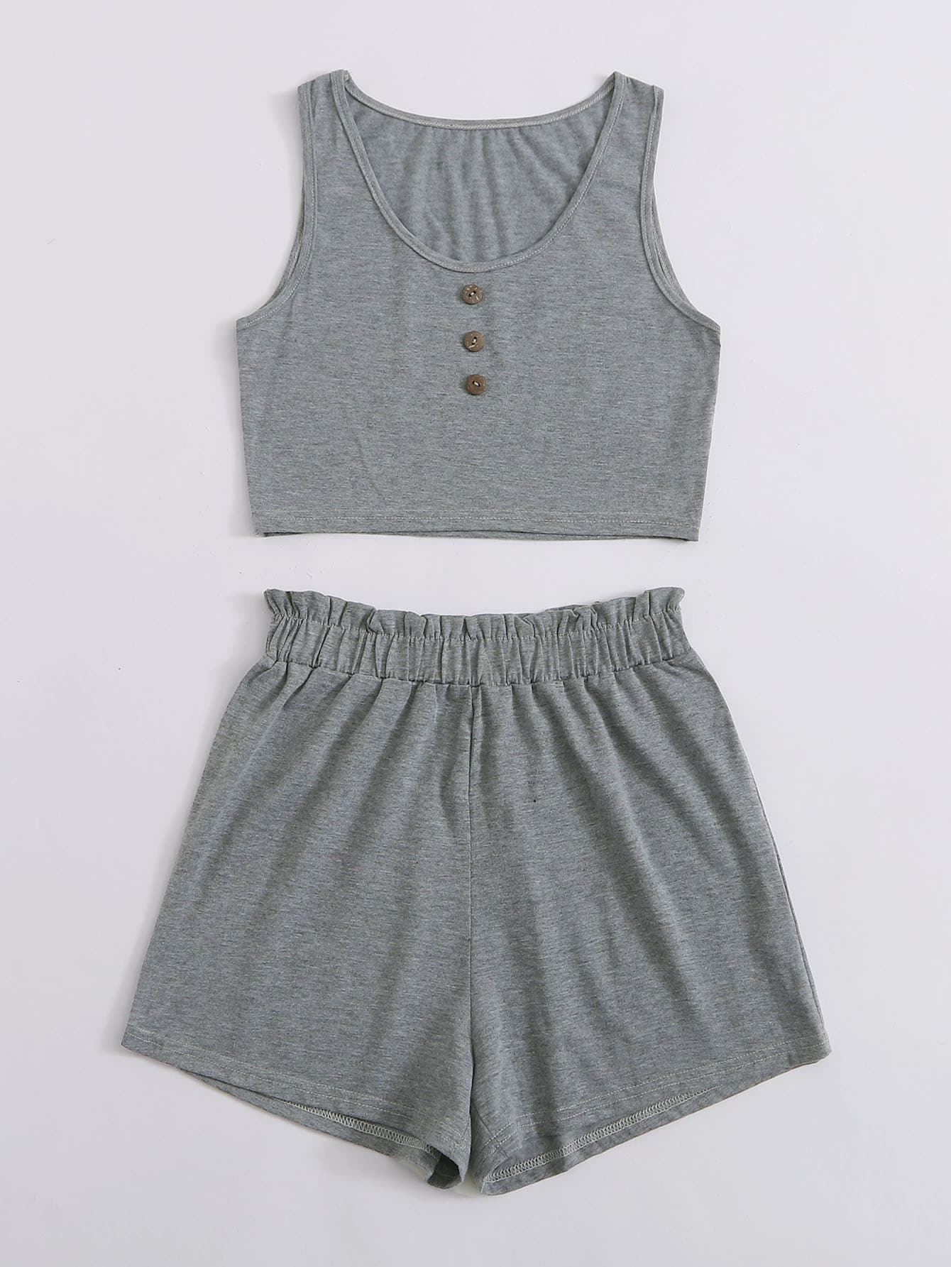 Button Front Crop Tank Top With Shorts - FLJ CORPORATIONS