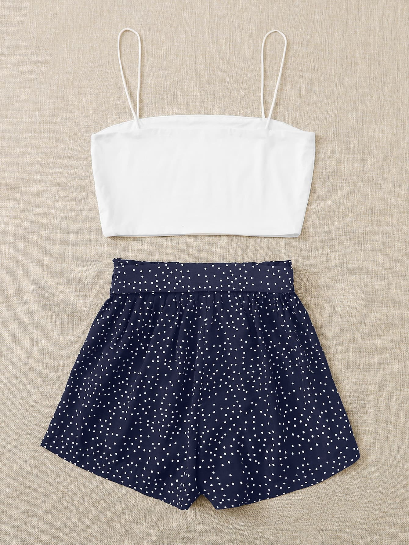 Cami Top & Polka Dot Belted Paper Bag Waist Shorts - FLJ CORPORATIONS