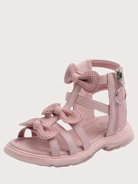 Girls Bow Decor Zip Side Gladiator Sandals - FLJ CORPORATIONS