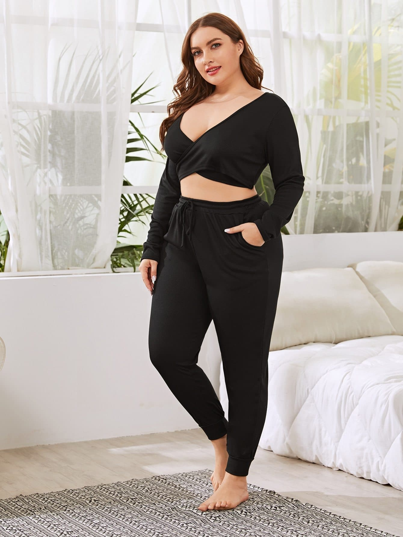 Plus Surplice Plunging Rib-knit  Pajama Set - FLJ CORPORATIONS
