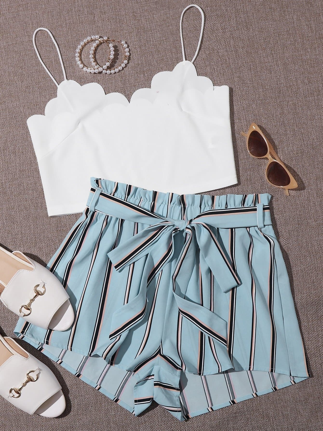 Scallop Trim Crop Cami Top & Belted Striped Shorts Set - FLJ CORPORATIONS