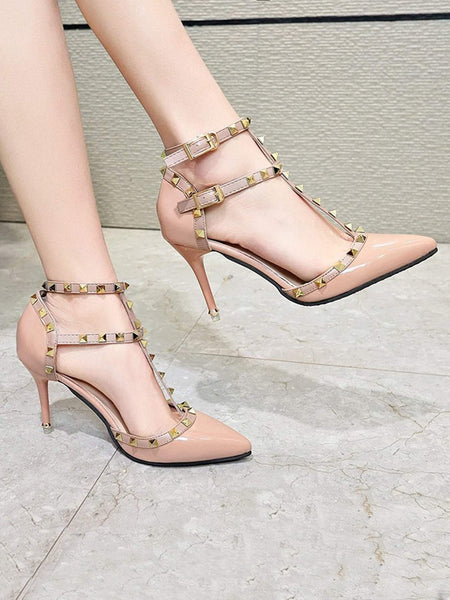 Studded Decor Pointed Toe Stiletto Heels - FLJ CORPORATIONS