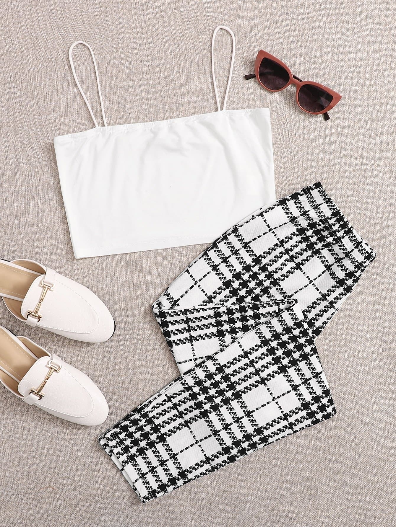 Solid Cropped Cami Top & Plaid Leggings Set - FLJ CORPORATIONS