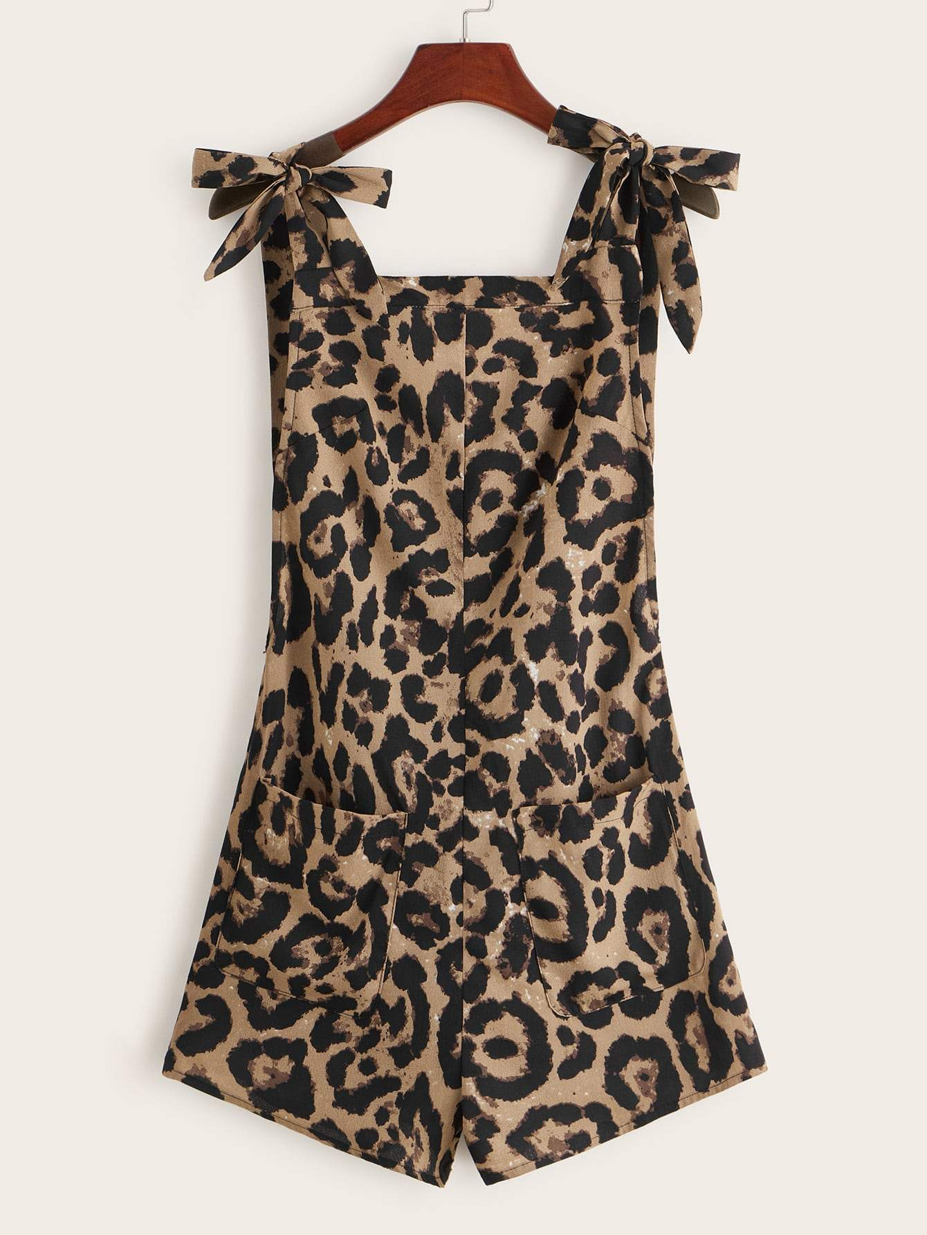 Plus Pocket Patched Knot Leopard Tank Romper - FLJ CORPORATIONS