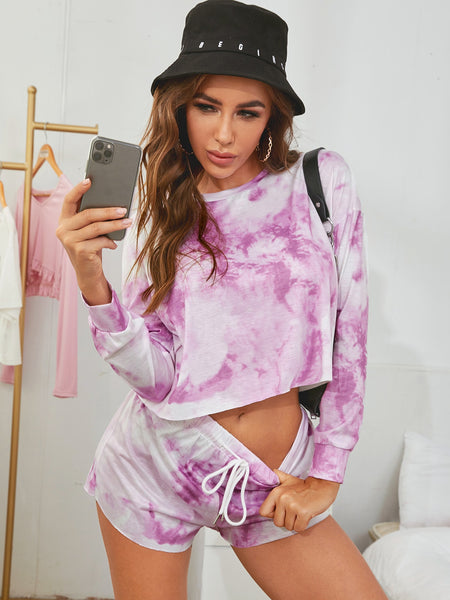 Tie Dye Drawstring Lounge Set - FLJ CORPORATIONS