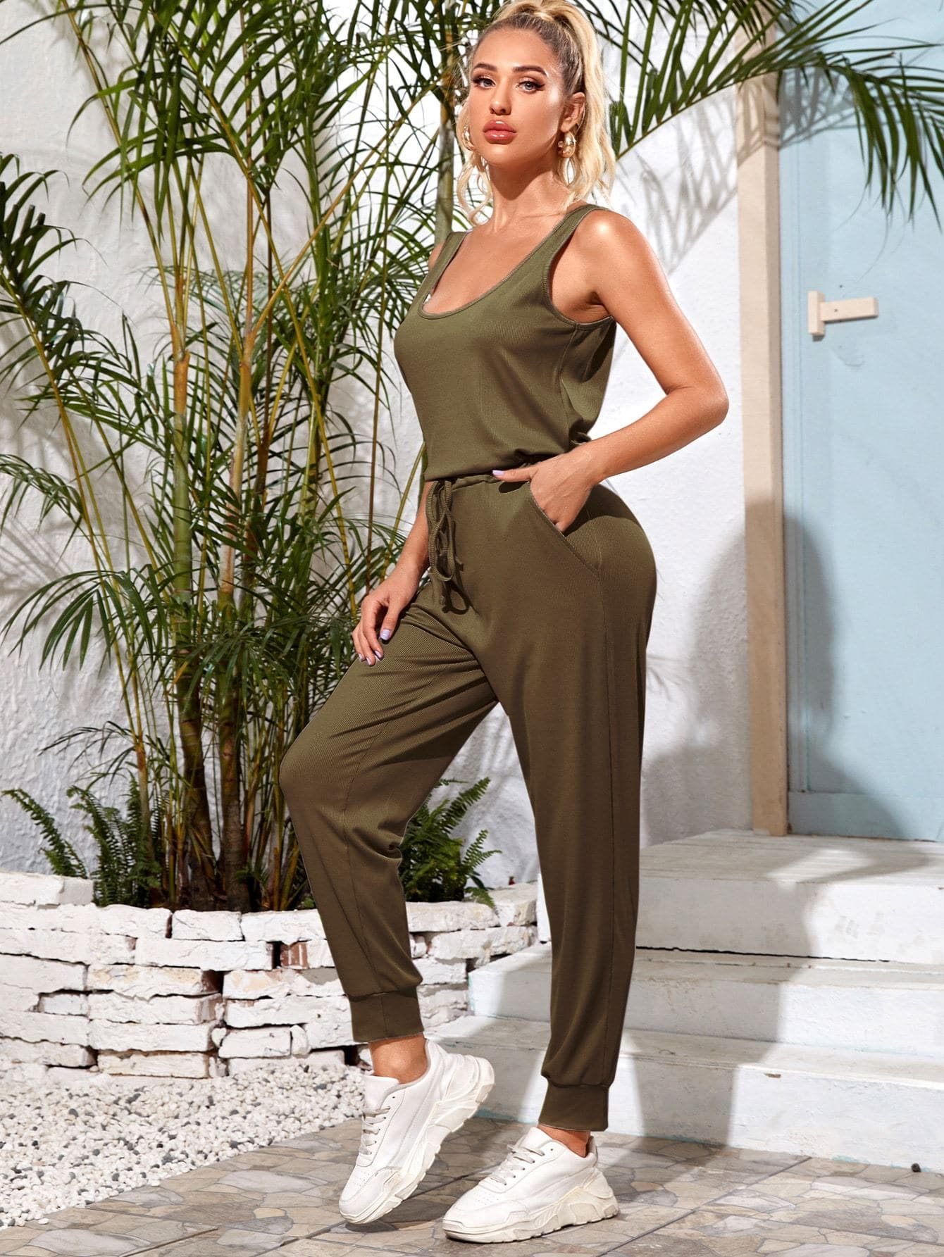 Scoop Neck Drawstring Waist Tank Jumpsuit - FLJ CORPORATIONS