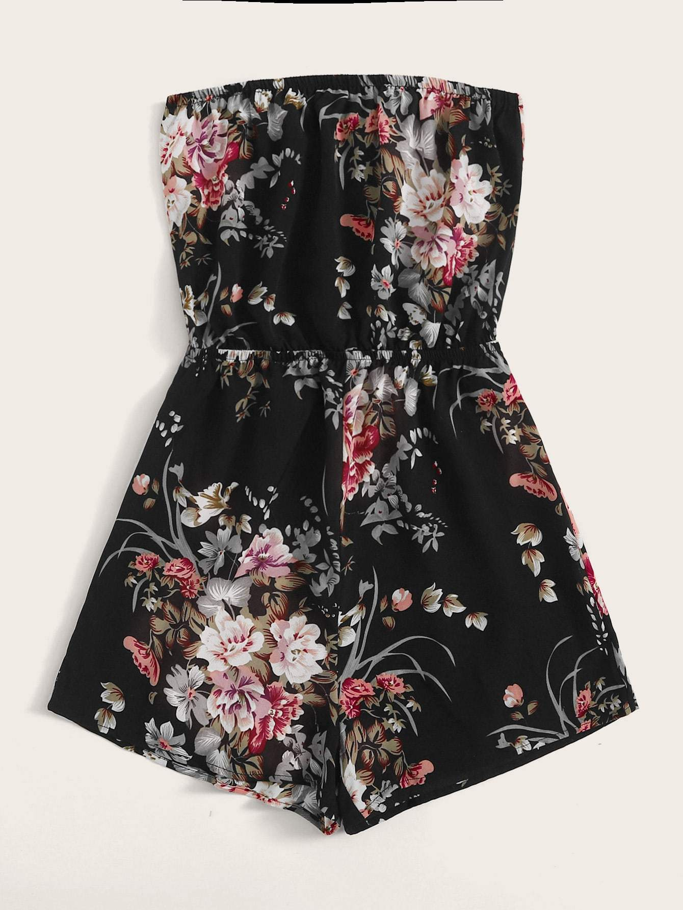 Plus Floral Print Tube Romper - FLJ CORPORATIONS