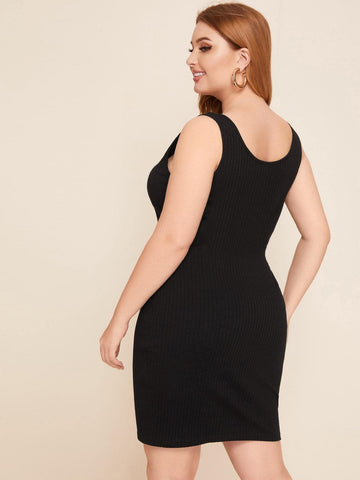 Plus Rib-knit Solid Bodycon Dress - FLJ CORPORATIONS