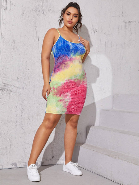 Plus Tie Dye Midi Cami Dress - FLJ CORPORATIONS