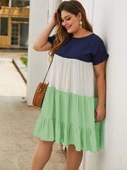 Plus Color-block Ruffle Hem Babydoll Dress - FLJ CORPORATIONS