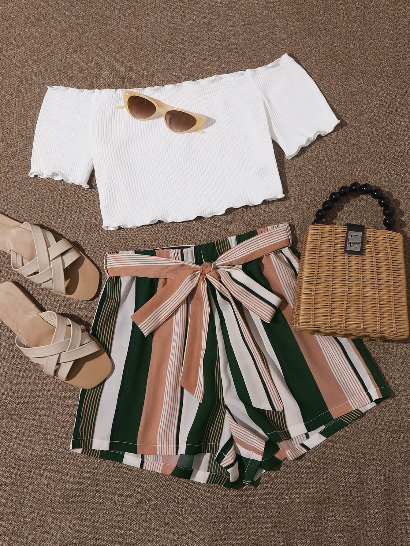 Lettuce Edge Bardot Top and Self Belted Striped Shorts Set - FLJ CORPORATIONS