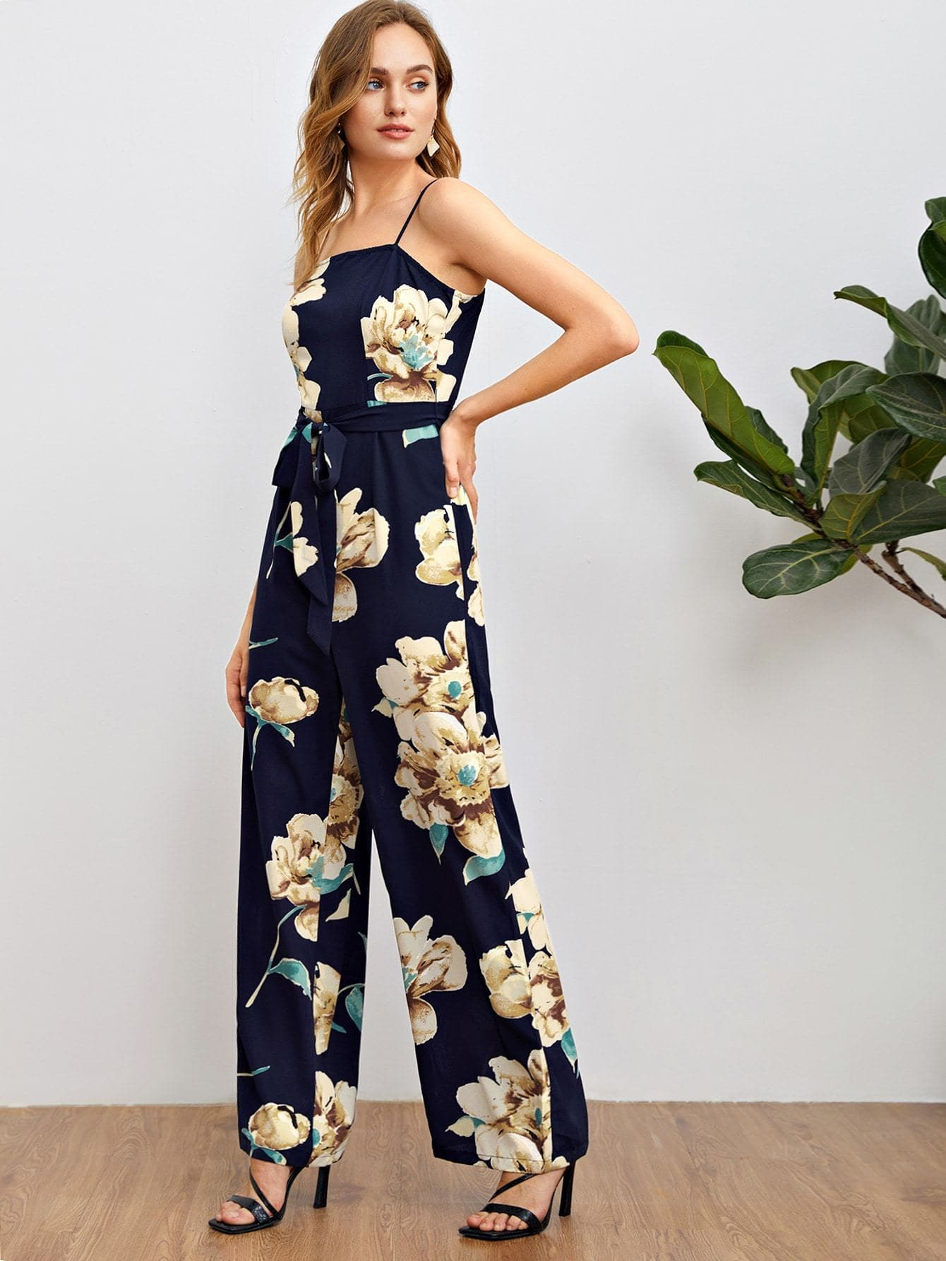 Floral Print Wide Leg Self Belted Cami Jumpsuit - FLJ CORPORATIONS