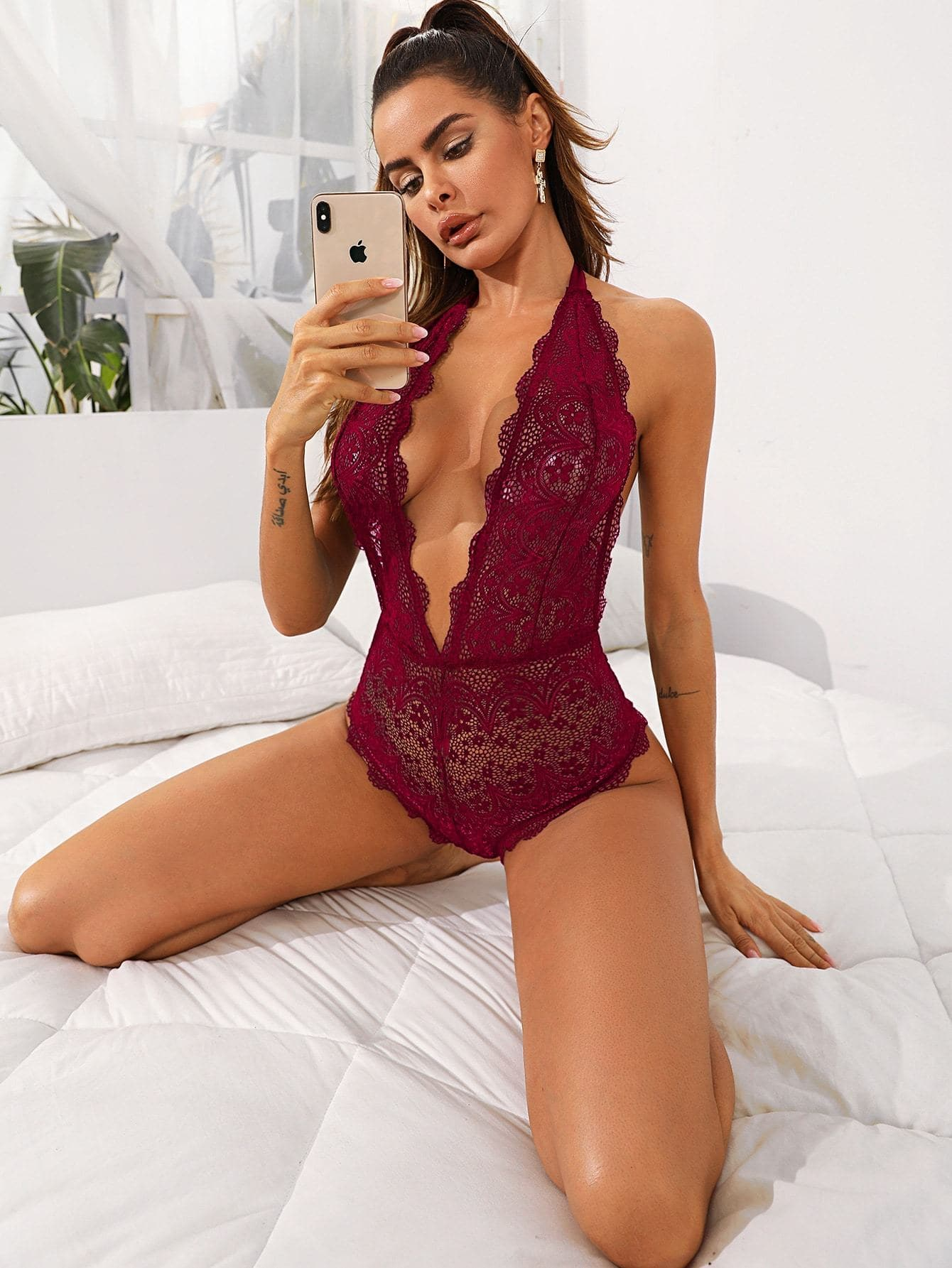 Floral Lace Plunging Halter Teddy Bodysuit - FLJ CORPORATIONS