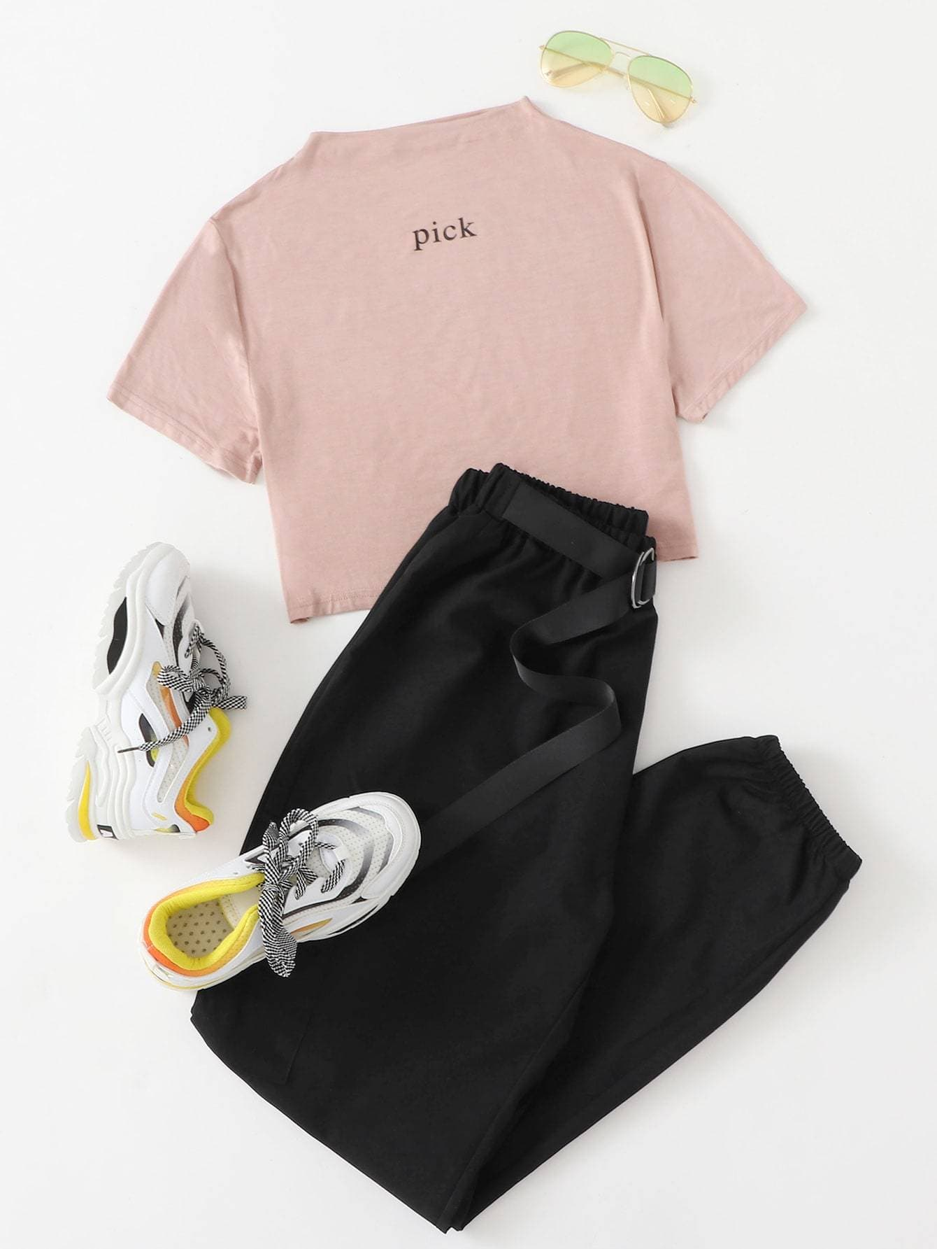 Mock Neck Letter Graphic Tee With Pants - FLJ CORPORATIONS
