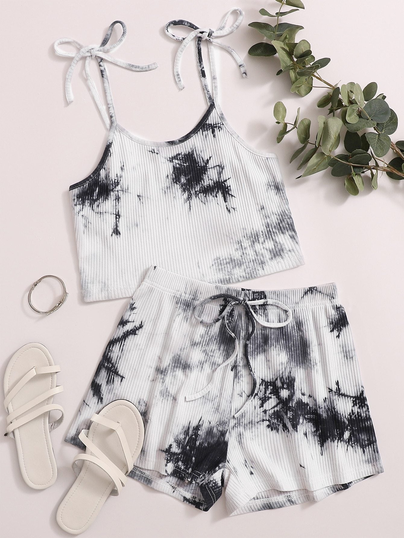 Tie Dye Rib-Knit Cami Top With Shorts - FLJ CORPORATIONS