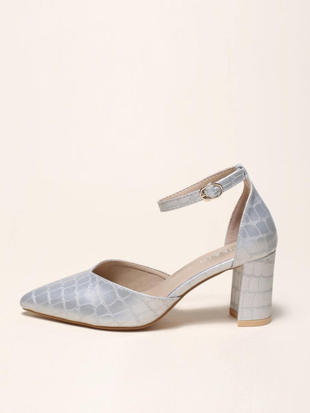 Ankle Strap Chunky Heeled Pumps - FLJ CORPORATIONS