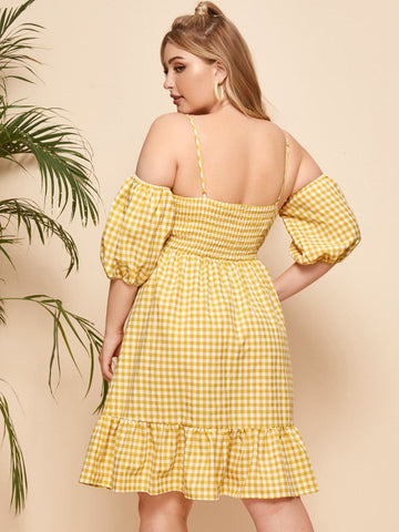 Plus Gingham Cold Shoulder Smocked Back Dress - FLJ CORPORATIONS