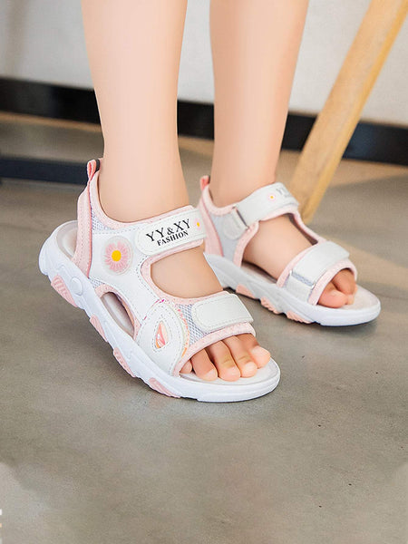 Girls Daisy Detail Cut-out Velcro Strap Sandals - FLJ CORPORATIONS