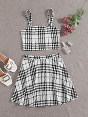 Plaid Crop Top and Skater Skirt Set - FLJ CORPORATIONS