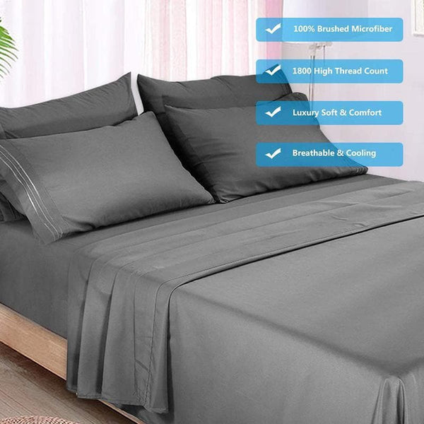 6 Piece Bed Sheet Set Cooling 100% Microfiber Polyester Extra Deep Pocket Fitted Sheet Luxury Soft Breathable Flat Sheet - FLJ CORPORATIONS
