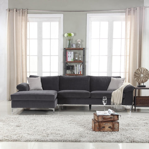 Mobilis Modern Large Microfiber Velvet Fabric L-Shape Sectional Sofa with Extra Wide Chaise Lounge, Grey