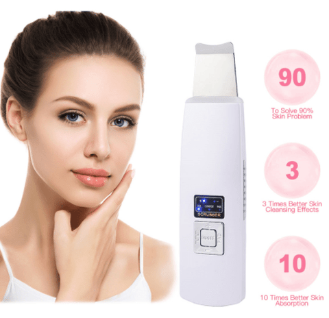 Ultrasonic Skin Scrubber Face Cleanser Blackhead Acne Removal Facial Spa Vibration Massager Ultrasound Peeling Clean Machine 394 - FLJ CORPORATIONS