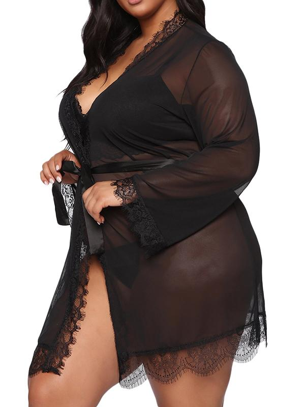 Plus Size Sexy Long Sleeve Sleepwear - FLJ CORPORATIONS
