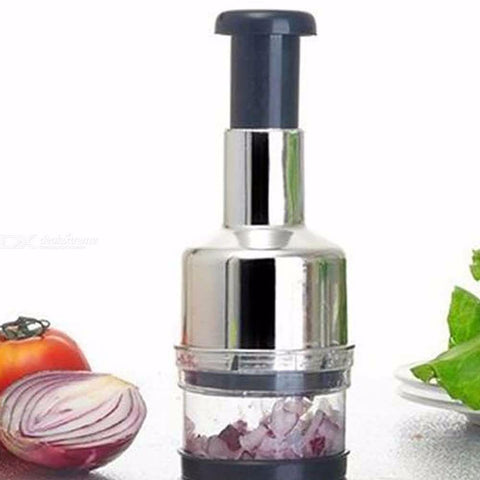 Stainless Steel Hand Pressure Garlic Chopper Onion Cutter Multifunction Vegetable Kitchen Tool Silver