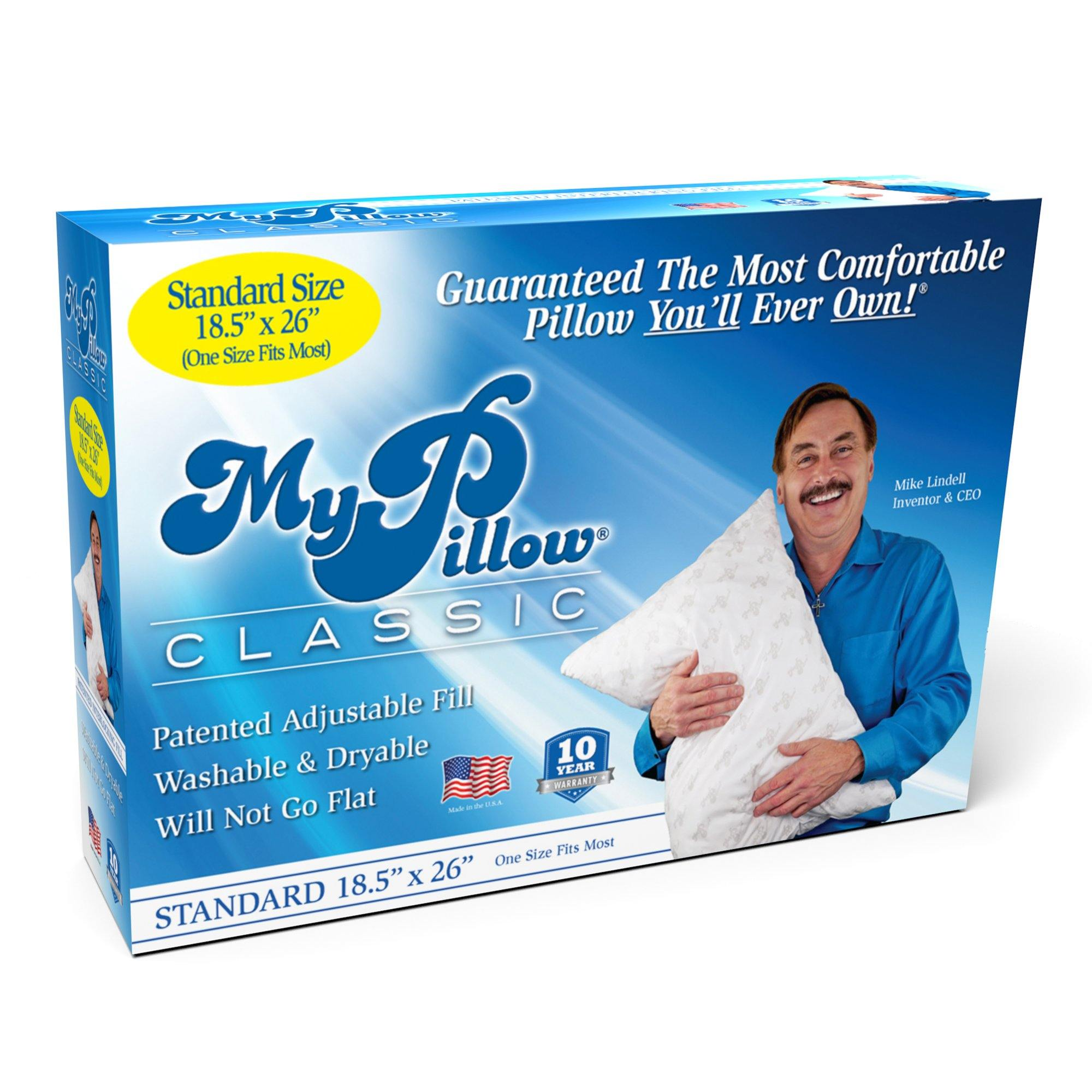 MyPillow Classic, Standard Size and Medium Support, 1 Pillow