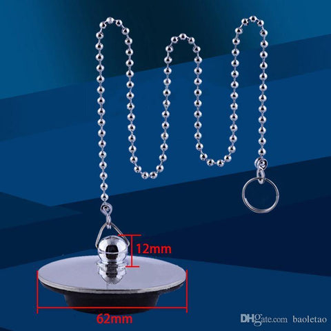 1pcs Chrome Plated Bath Tub Drainer Silver Bathtub Stopper Metal Waste Plug with Chain Bathtub Accessories