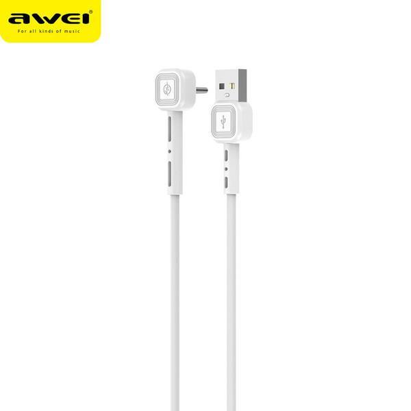 Awei CL-66 1m USB Type-C 90 Degree Fast Charging Usb C Phone Cable For Huawei P30 P40 Pro Samsung S20 S10 Note 10
