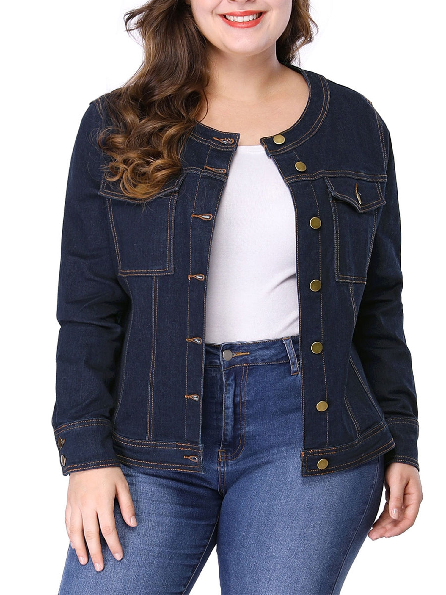 Women's  Collarless Denim Jacket - FLJ CORPORATIONS