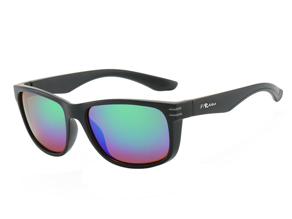 "Piranha Men's ""Heritage"" Matte Black Frame Sports Polarized Sunglasses with Green Mirror Lens - FLJ CORPORATIONS"