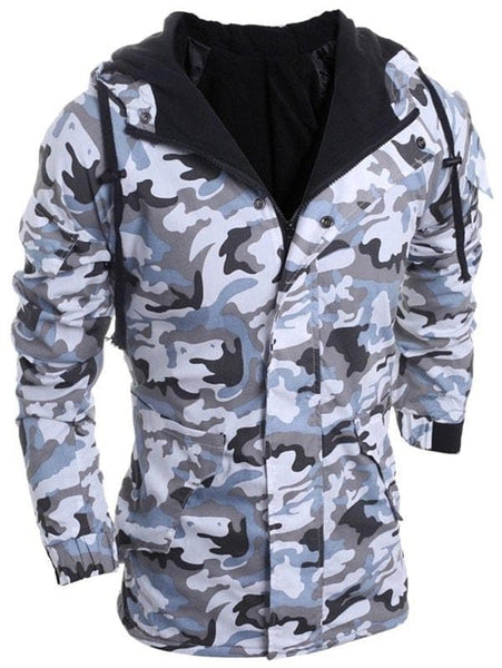 Modish Loose Fit Hooded Multi-Pocket Camo Pattern Long Sleeve Thicken Cotton Blend Coat For Men - Xl - FLJ CORPORATIONS