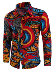 Tribal Totem Print Long Sleeve Shirt - L - FLJ CORPORATIONS