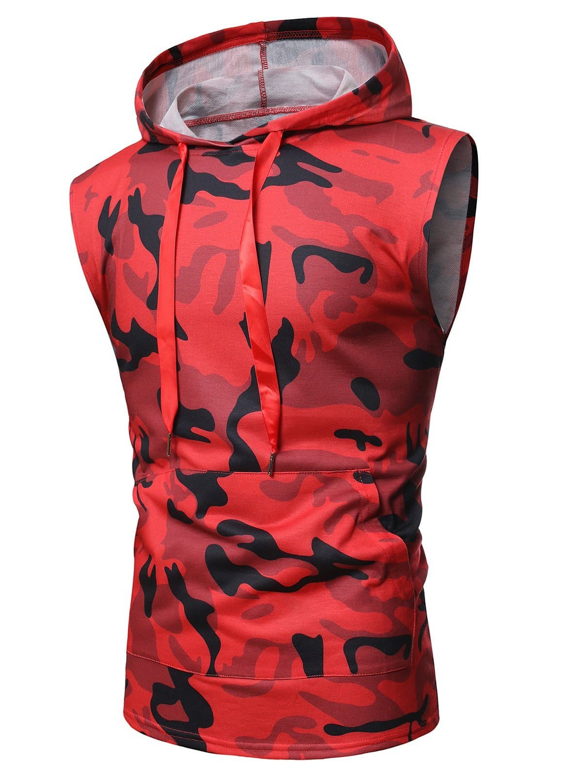 Camouflage Print Back Zip Hooded Tank Top - M - FLJ CORPORATIONS
