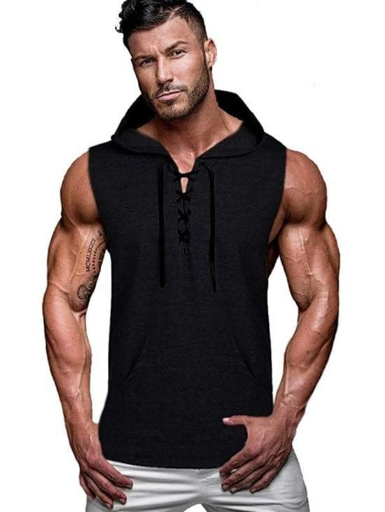 Kangaroo Pocket Lace-up Hooded Tank Top - L - FLJ CORPORATIONS
