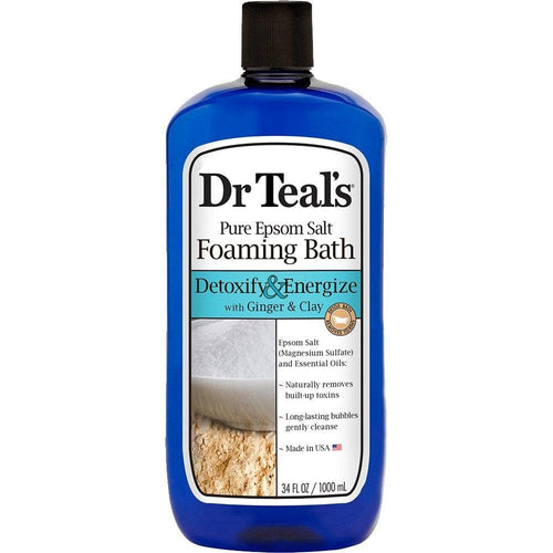 Dr Teal's Pure Epsom Salt Detoxify & Energize Foaming Bath with Ginger & Clay, 34 oz. - FLJ CORPORATIONS