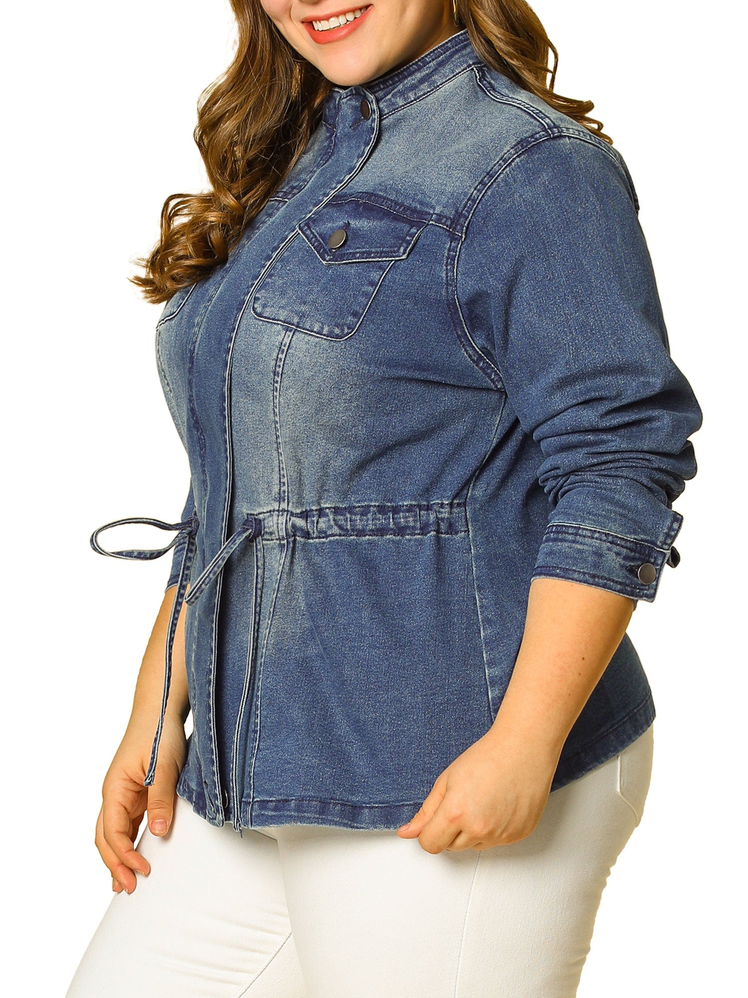 Women's  Drawstring Denim Jacket - FLJ CORPORATIONS