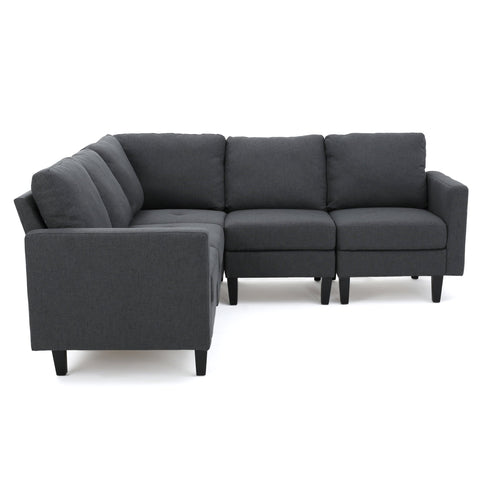 Carolina Fabric Sectional Couch, Dark Grey