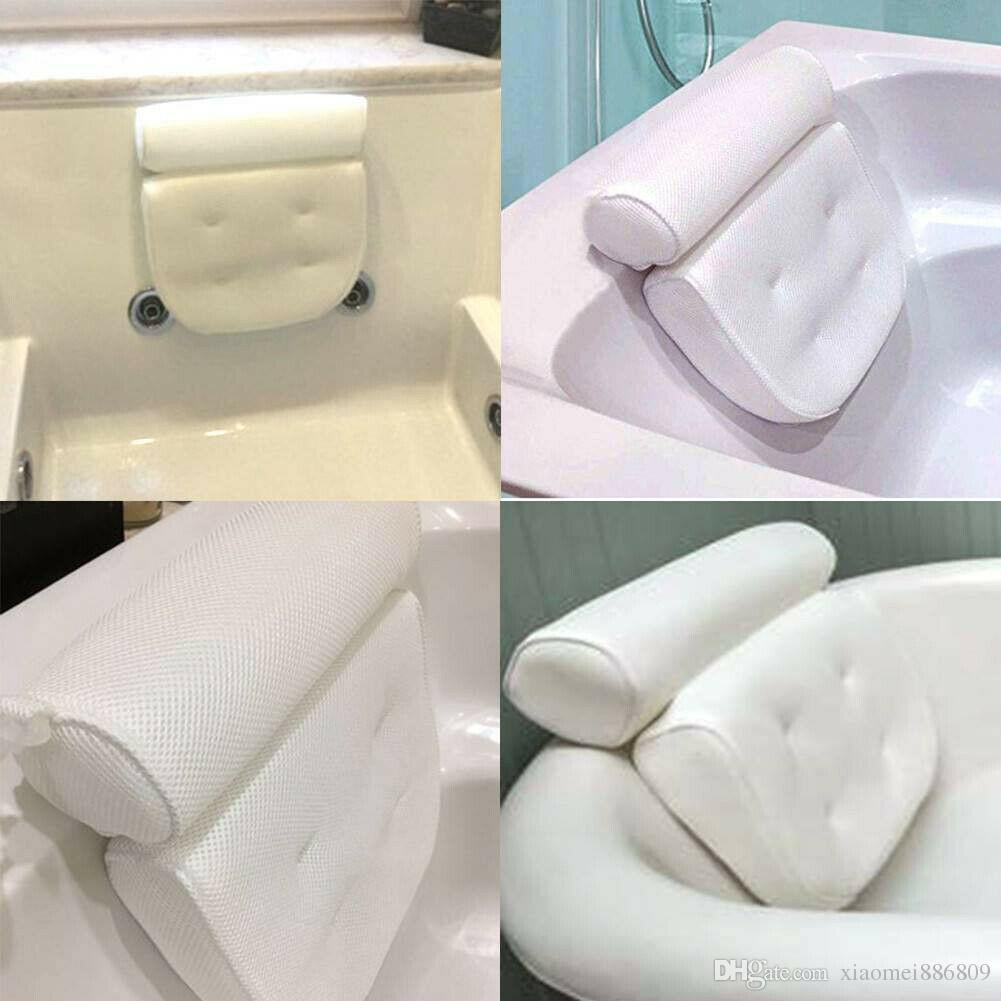 Bath Tub Spa Pillow Cushion Neck Back Support Massage Bathtub Suction Cup White