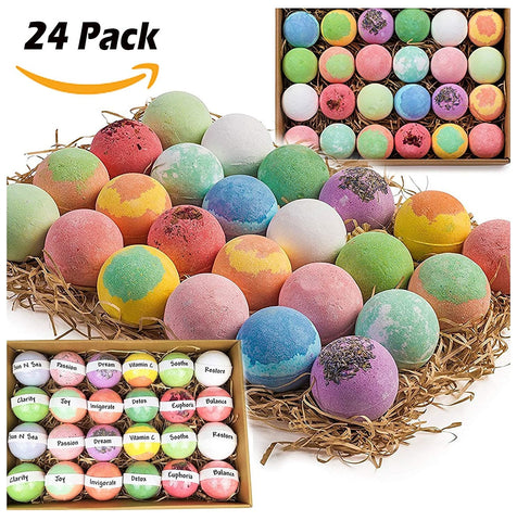 Gift Set of 24 Nurture Me Organic Bath Bombs, Large Bath Fizzies All Natural Womens Gift Set with Organic Shea & Cocoa Butter , Best Gift Baskets - FLJ CORPORATIONS