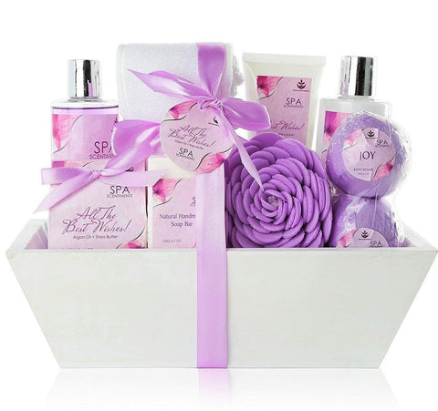 "Premium Large Spa Basket, ""All The Best Wishes"" Gift Basket for Women. Bath & Body 10-Piece Gift Set. Best Christmas Gift for Women with Bath Bombs, Shower Gel, Lotions, Accesories, etc! - FLJ CORPORATIONS"