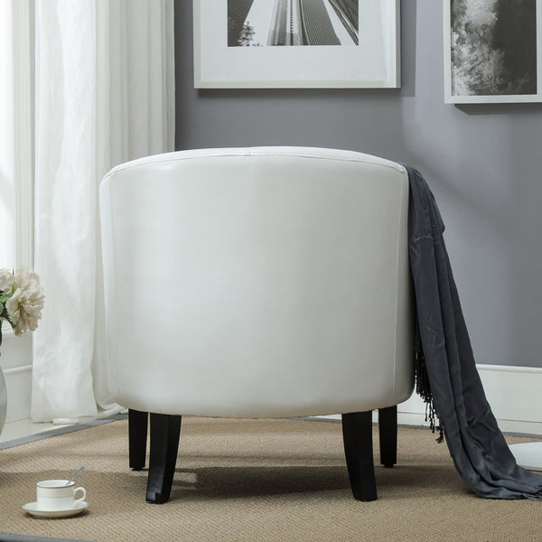 Belleze Club Chair Tub Faux Leather Armchair Seat Accent, White - FLJ CORPORATIONS