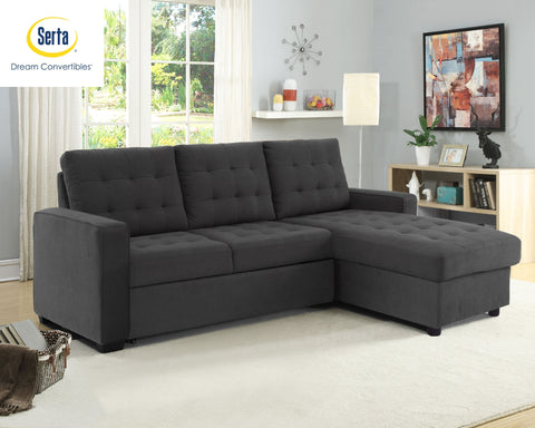 Lifestyle Solutions Serta Bostal Sectional Sofa Convertible: Converts into a Sofa, Bed, and Chaise with Storage, Steel Grey