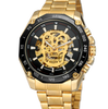 Image of Forsining Steampunk Fashion Skull Design Black Golden Luminous Hands Skeleton Men's Mechanical Wrist Watches Top Brand Luxury - FLJ CORPORATIONS