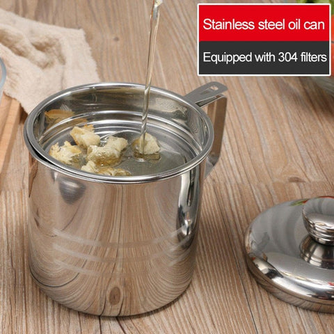 304 Stainless Steel Lard Tank Oil Filter Pot Large Capacity Filter Oil Separator Storage Tank Kitchen Oil Bottle With Strainer